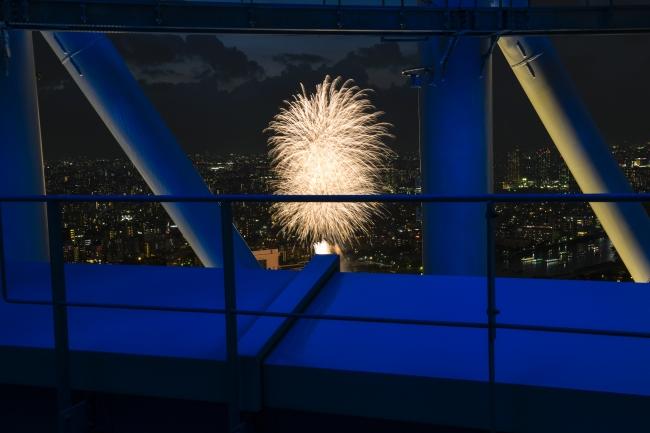 東京スカイツリー展望台から見る隅田川花火大会(昨年の様子)©TOKYO-SKYTREE