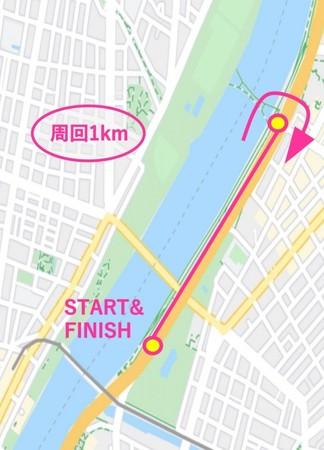 1周1kmの周回コースを5周(5km)するコース