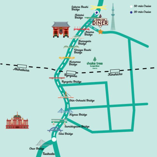 コースマップ (白線:周遊クルーズ/青線:ショートクルーズ)