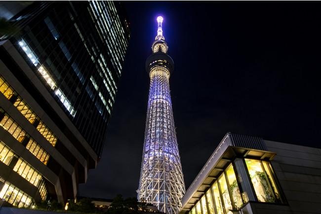 △「しだれ花火」をイメージした演出 (C)TOKYO-SKYTREE