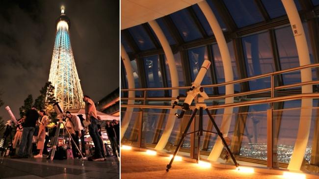 ▲ソラマチひろば(左)および天望回廊(右)での名月鑑賞会(イメージ) ©TOKYO-SKYTREETOWN ©TOKYO-SKYTREE