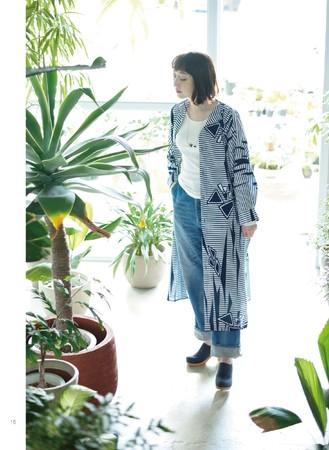 シャツワンピース(藍型染めの浴衣から)