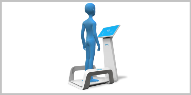 店舗にある測定機で足型を測定します