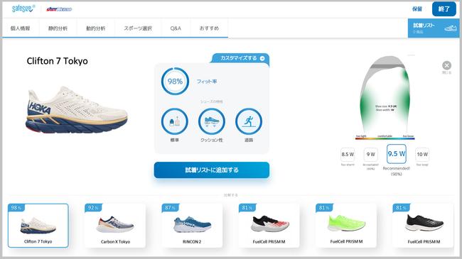 おすすめされた靴について、測定した足とのマッチング具合が詳細に確認できます