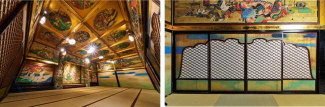 写真左から 漁樵の間 全景、漁樵の間 火灯窓