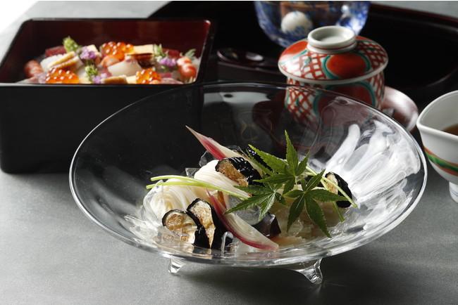 日本料理「渡風亭」揚げ茄子素麺と海鮮ばらちらし