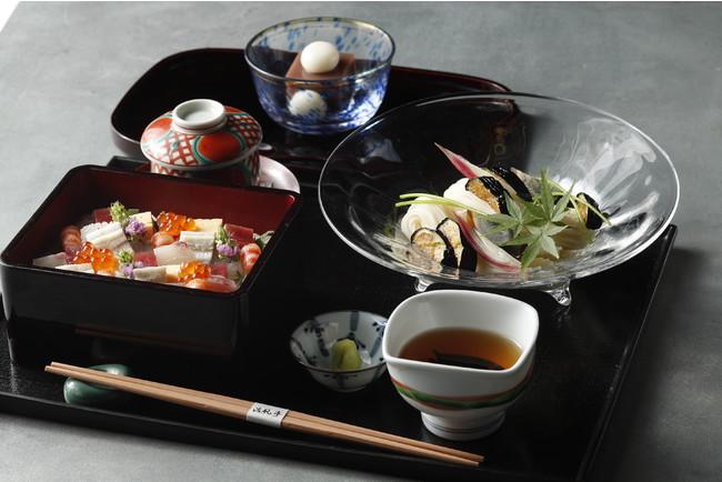 揚げ茄子素麺と海鮮ばらちらし