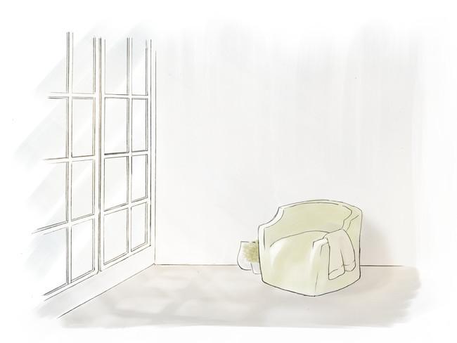 格子窓から自然光が入る、明るく爽やかな空間。