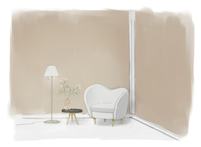 ホテルの一室のような、落ち着いた空間。