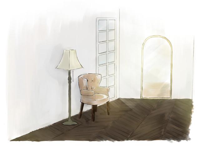 スタジオ内メイクルームも撮影背景として使用できるクオリティの空間に。