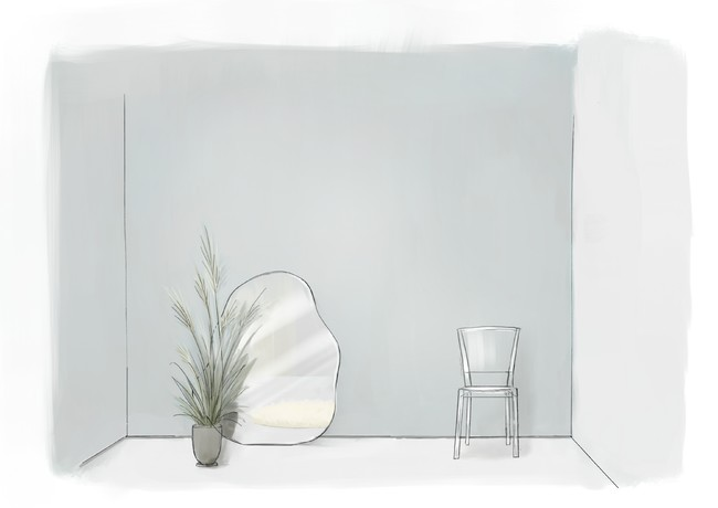 ブルーグレーの壁が爽やかな空間。