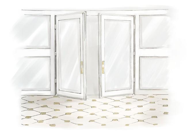 外に出ることができるバルコニーは、スタジオ内に自然光を入れる、大きな窓が特徴。