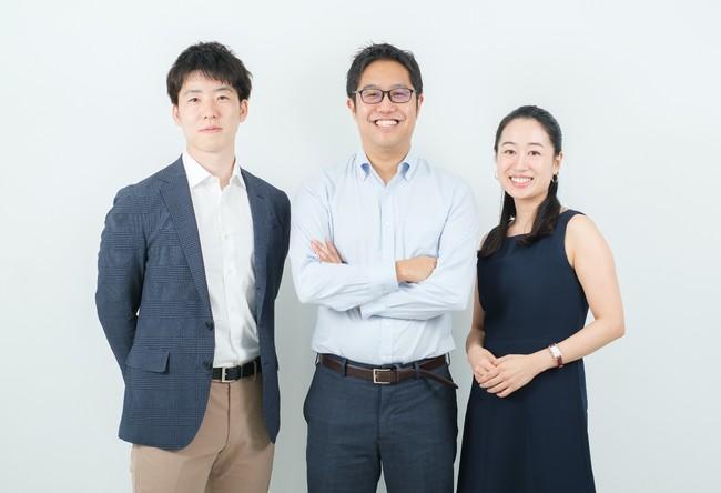 左:最高技術責任者(CTO)市川 裕樹、中:代表取締役社長(CEO)小野瀬 隆一、右:最高執行責任者(COO)水沼未雅