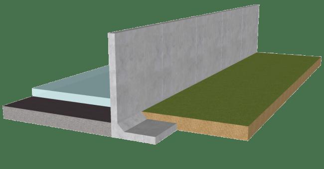 庭から見る浸水防止塀