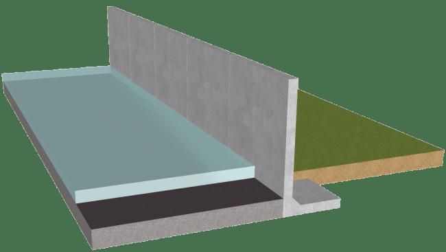 冠水した道路からみる浸水防止塀