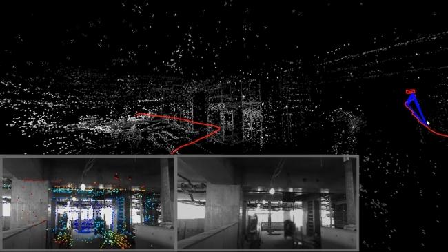 (デプスカメラで建物内をスキャンし(左下)、3Dマップを生成する様子。柱等の構造が再現されている(写真中央上)柱等の構造が再現されている。赤線はロボットに装着したデプスカメラが現場をスキャンする際に通った軌道を示している。)