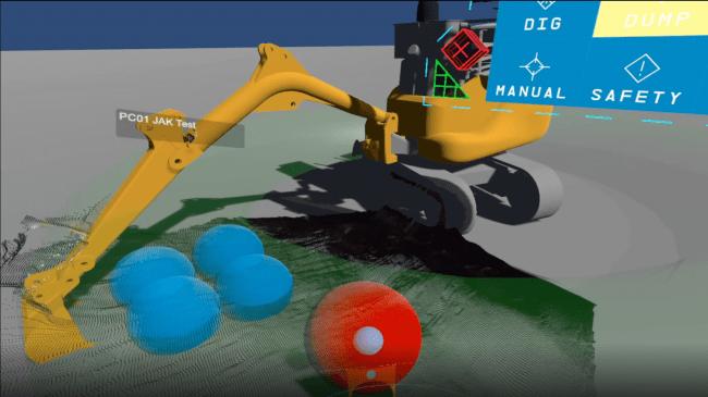 (VR上にて作業領域を指定している様子。青のボールは除雪したい箇所、赤のボールはすくい上げた雪を置きたい箇所を示す。)