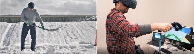 (左 従来の除雪作業、 右 VRでショベルカーに除雪の指示をする様子)