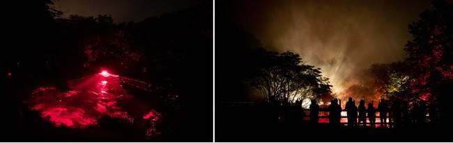 """▲<ゾーン6~警告~>""""ボッケ""""と呼ばれる泥火山の地形・自然現象を活用したシーン (C)MOMENT FACTORY"""