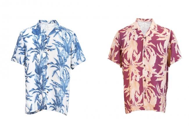 アロハシャツ (左からインディゴ、ボルドー)