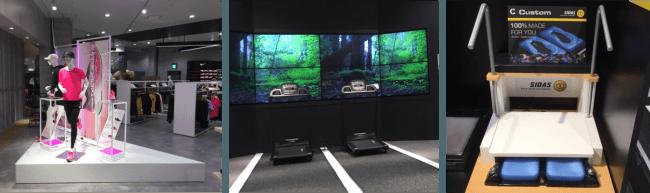 写真左:「ランニングブース」、中央:「ランニングマシーン」、右:「足型測定器」