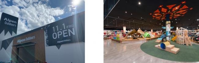 写真左:店舗外観、右: 店舗内観イメージ(Alpen Outdoors 春日井店)