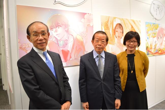 「ありがとう日本」イラスト展:写真左より谷崎泰明・日本台湾交流協会理事長、謝長廷・駐日代表、王淑芳・台湾文化センター長