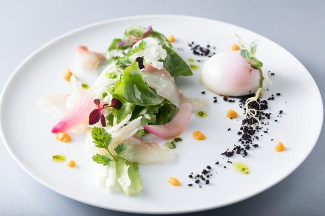 「とうきょうサラダと真鯛のカルパッチョ バジルの香り 青森県蓬田村産福々たまごの温度たまご添え」イメージ