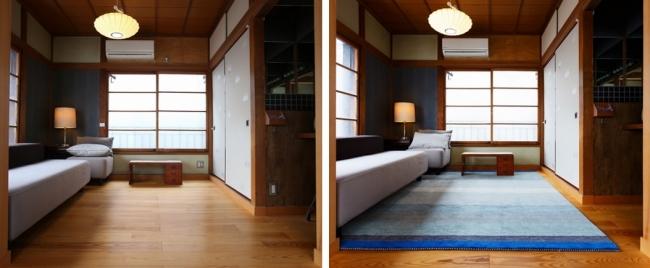 無垢の床との相性も抜群。一枚敷くだけで雰囲気が一変し、快適性も増します