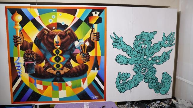 アーティストが描いたペイント(左から、Gravityfree、Hideyuki Katsumata)
