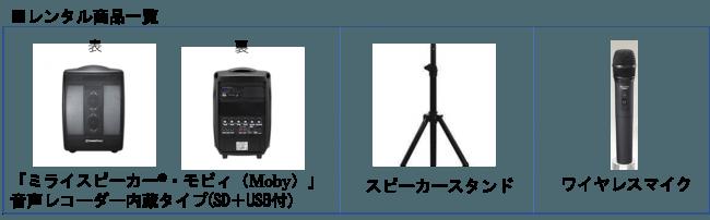 「ミライスピーカー(R)・モビィ(Moby)」レンタル商品一覧