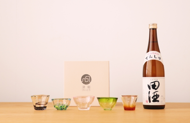 田酒×津軽びいどろコラボおちょこ ギフトセット