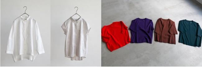 写真左より 刺繍のビッグブラウス、刺繍のバックタックブラウス(いずれもほぼ日別注 STAMP AND DIARY) 、 BIWA COTTON Tシャツ(轟木節子さんがつくる、気持ちのいい服。)