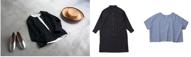 写真左よりStilmodaフラットシューズ(weeksdays)、フレフレ・カーディガン、スリーブレストップ (O2)、 chisaki 夏の帽子(weeksdays)、ビッグシャツワンピース(hobonichi+a.)、襟付きプルオーバー