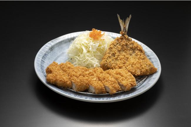 琉香豚プレミアムとんかつ&アジフライ定食(店内飲食)
