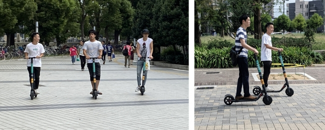 ※私有地内での走行の様子です。また、電動キックボードは法令上、原動機付自転車に該当します。 公道においては、ヘルメットの着用など法規制を遵守する必要があります。
