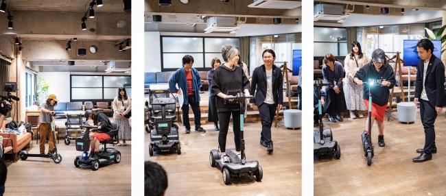▲渋谷SOILを訪れた人々が、電動マイクロモビリティを体験する様子(写真:イシヅカ マコト)