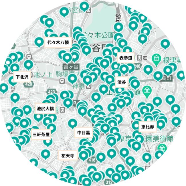 渋谷エリアのLUUPポートマップ(2021年3月15日時点)。六本木・赤坂・虎ノ門エリアと新宿エリアでも高密度なポート設置を目指す。