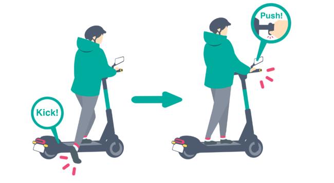 参考画像5:電動キックボードの乗り方