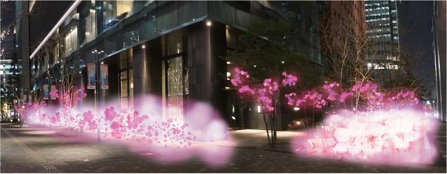 春の霧に浮かぶ星のや東京 (イメージ)