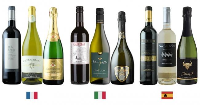 フランス・イタリア・スペイン3か国のワイン全9本の中から好きなワインが選べる