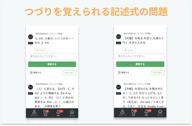 スペリング問題は、英熟語のつづりを覚えたいユーザーのお役に立ちます。