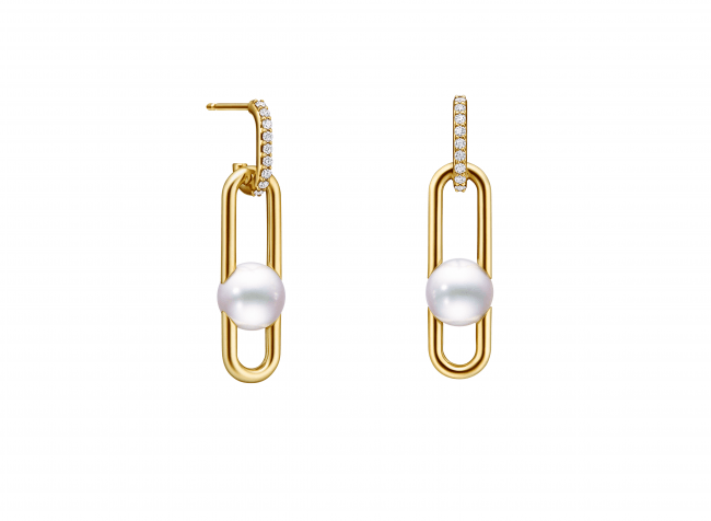 「fine links (ファイン リンク)」イヤリング [18K イエローゴールド、あこや真珠、ダイヤモンド]  ¥340,000