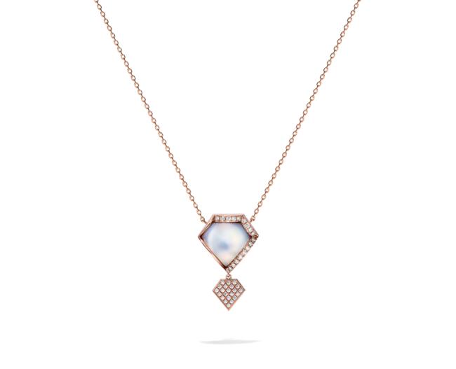 ファセッティド ネックレス [18K SAKURAGOLD(TM)、マベ真珠、ダイヤモンド (チェーン18KPG)] ¥770,000