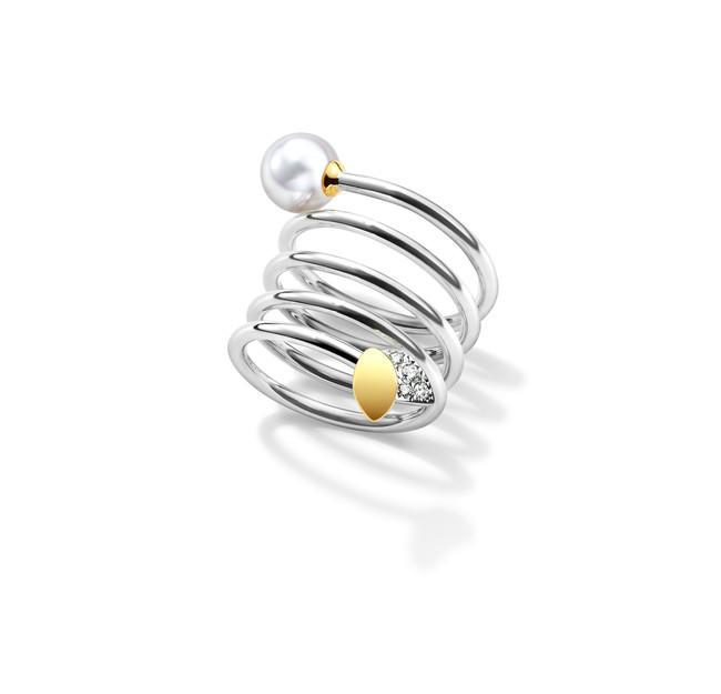 フローレット リング [18K ホワイトゴールド、18K イエローゴールド、あこや真珠、ダイヤモンド] ¥700,000