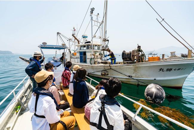 志津川湾の養殖漁業を間近で見学
