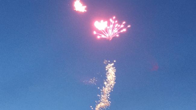 (今年6月1日山梨県市川みさと花火公園で開催されたわくわくおもちゃ花火スクールでの打上げ花火)
