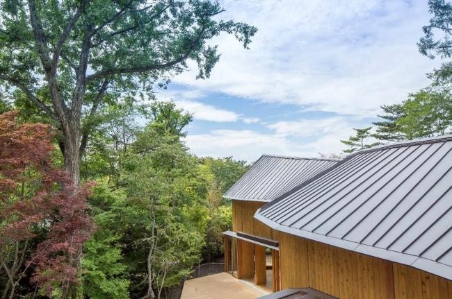 波状の屋根と曲線的な形状が印象的な2階建てのししいわハウス(写真: 平井 広行)