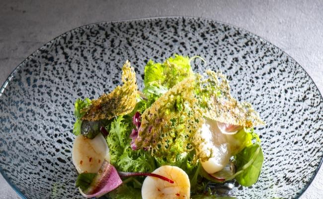 帆立貝のカルパッチョと彩りサラダ