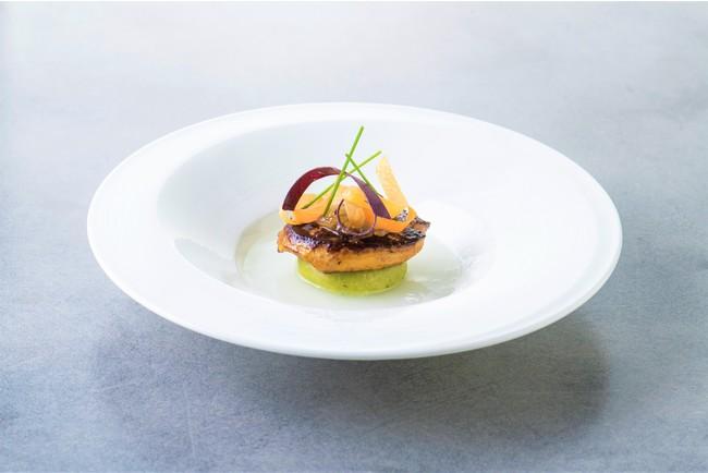 フォアグラのポワレと長野県産野沢菜のおやき